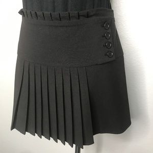 BCBGMaxAzria Black Pleated Mini Skirt A090226